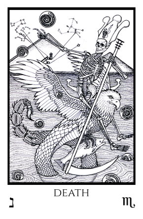 Death Tabula Mundi Tarot black white