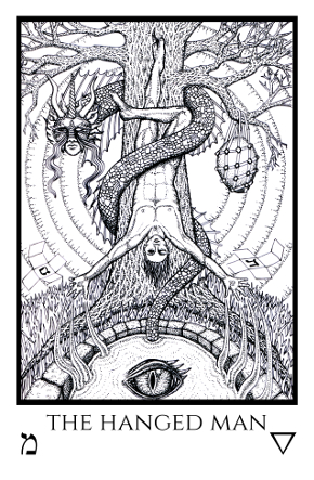 Hanged Man Tabula Mundi Tarot black white