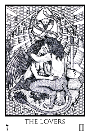 Lovers Tabula Mundi Tarot black white