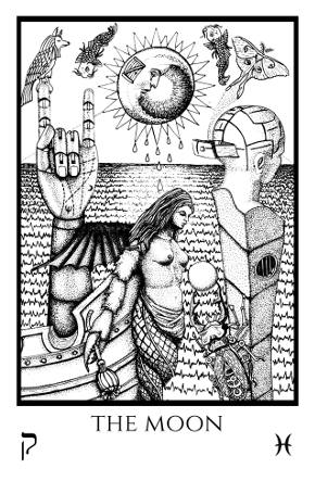 Moon Tabula Mundi Tarot black white