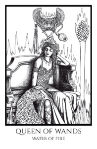 bordered BW Queen of Wands