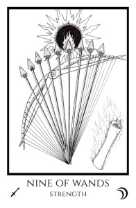 bordered BW 9 of Wands