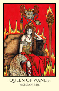 bordered color Queen of Wands