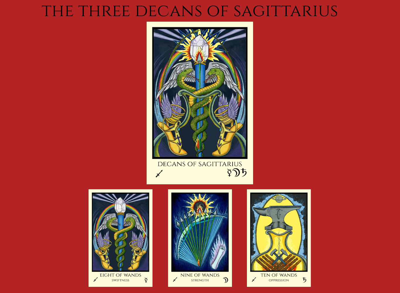 The three decans of Sagittarius